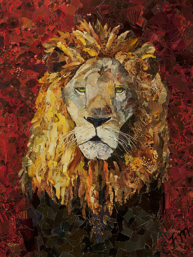 Liberty Lion Was Created Using Ripped Up Pieces Of Magazines. Therefore Mixed Media - Liberty Lion by Claire Muller