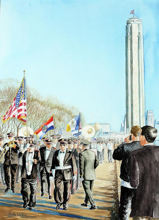 Liberty Memorial Painting - Liberty Memorial Kc Veterans Day 2001 by Carolyn Coffey Wallace