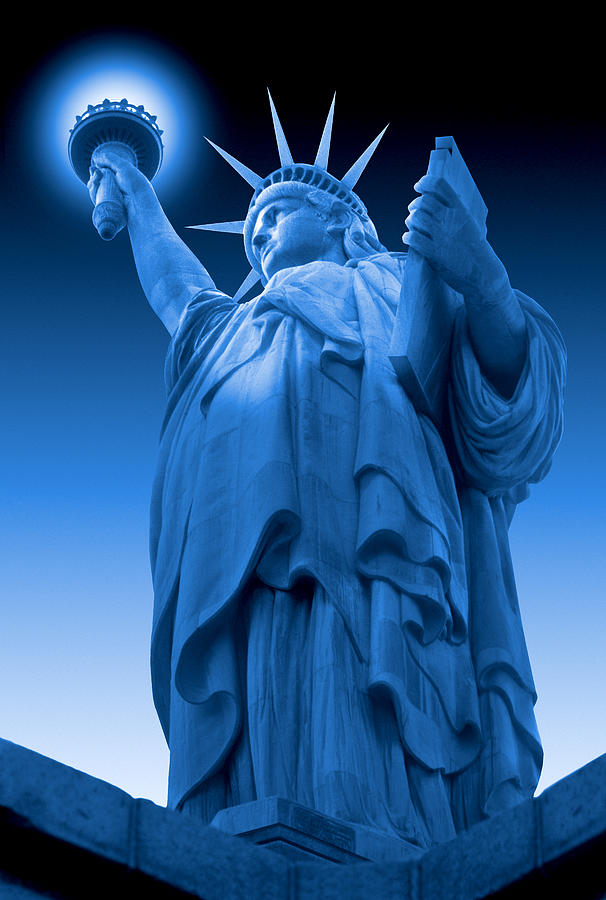 Landmarks Photograph - Liberty Shines On In Blue by Mike McGlothlen