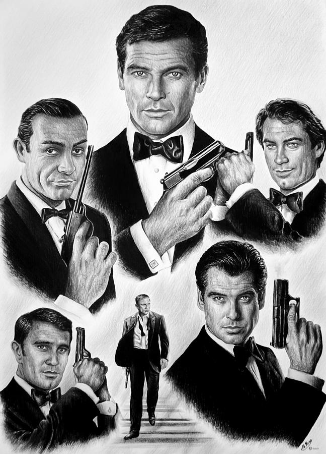 James Bond Drawing - Licence To Kill  Bw by Andrew Read