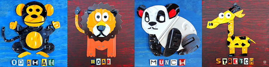 License Plate Art Jungle Animals Series 1 Mixed Media