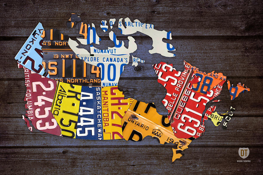 License Plate Map Of Canada Mixed Media