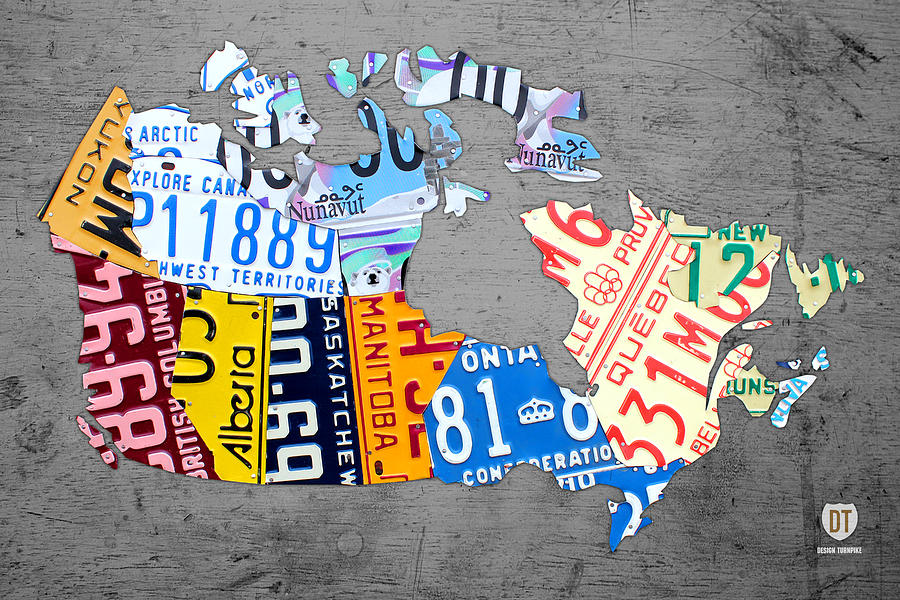 License Plate Map Mixed Media - License Plate Map Of Canada On Gray by Design Turnpike