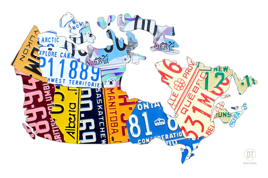 License Plate Map Of Canada On White Mixed Media  - License Plate Map Of Canada On White Fine Art Print