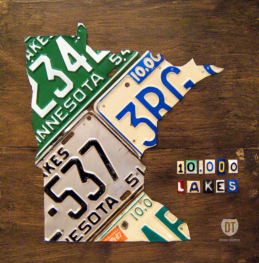 License Plate Map Of Minnesota By Design Turnpike Mixed Media  - License Plate Map Of Minnesota By Design Turnpike Fine Art Print