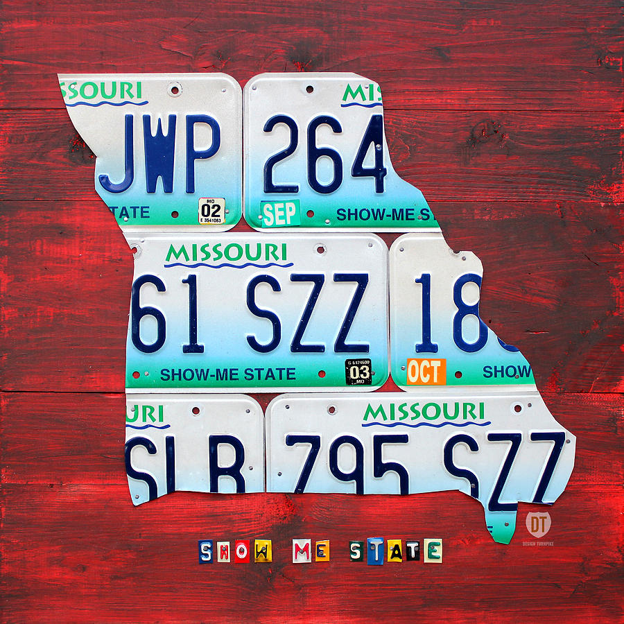 License Plate Map Of Missouri - Show Me State - By Design Turnpike Mixed Media