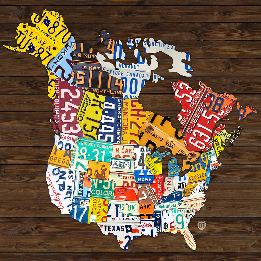 License Plate Map Of North America - Canada And United States Mixed Media