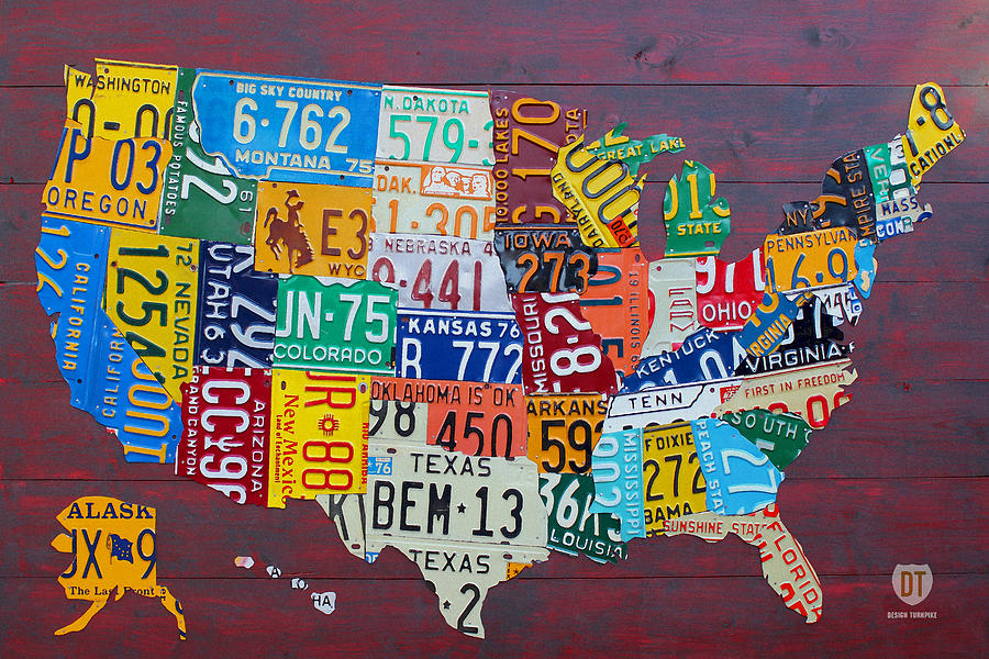 License Plate Map Of The United States Mixed Media