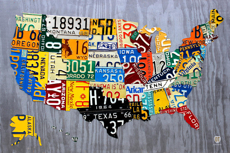 License Plate Map Of The United States - Muscle Car Era - On Silver Mixed Media