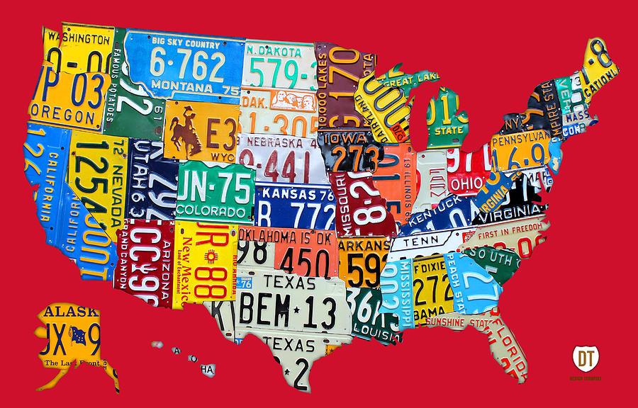 License Plate Map Of The United States On Bright Red Mixed Media