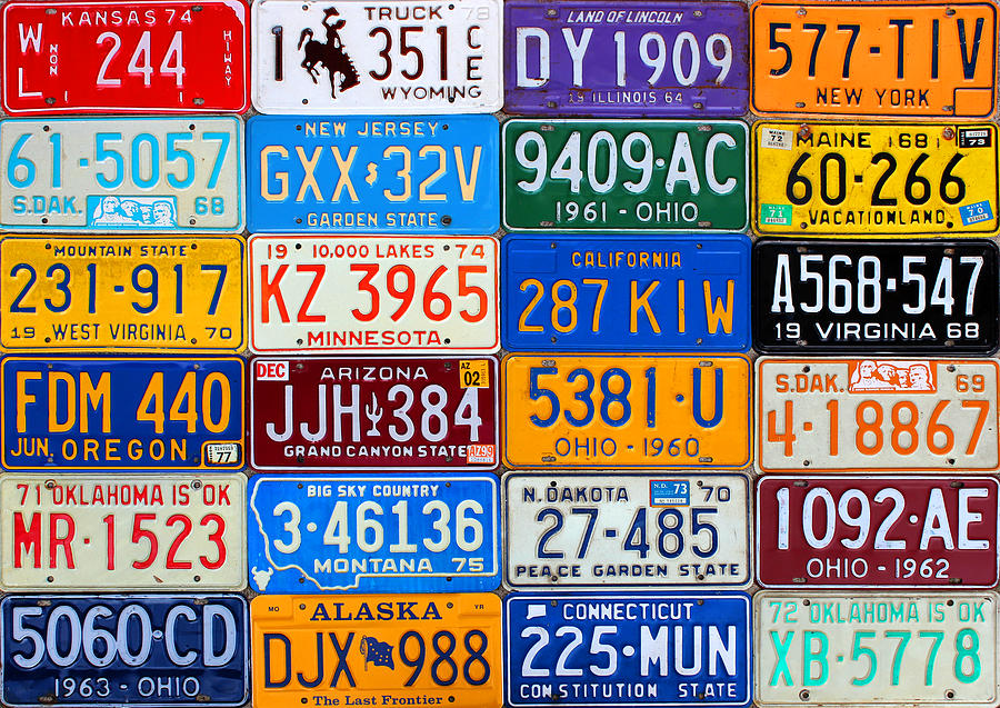 License Plates Of The Usa - Our Colorful American History Mixed Media  - License Plates Of The Usa - Our Colorful American History Fine Art Print