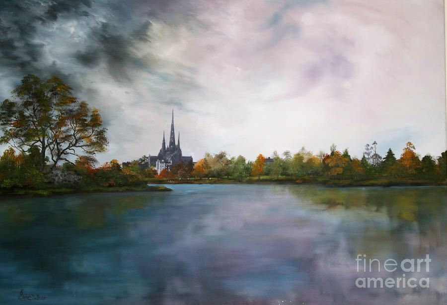 Lichfield Catherdral A View From Stowe Pool Painting  - Lichfield Catherdral A View From Stowe Pool Fine Art Print
