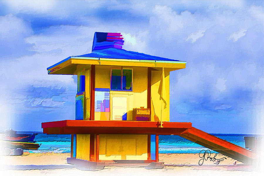 Lifeguard Station Painting - Lifeguard Station by Gerry Robins