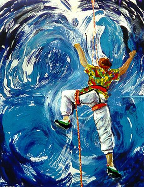 Lifeline Climbing Waves /image Copyright � Anneke Hut/  Painting - Lifeline by Anneke Hut