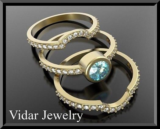 Gemstone Jewelry - Light Blue Aquamarine And Diamond 14k Yellow Gold Wedding Ring Set by Roi Avidar