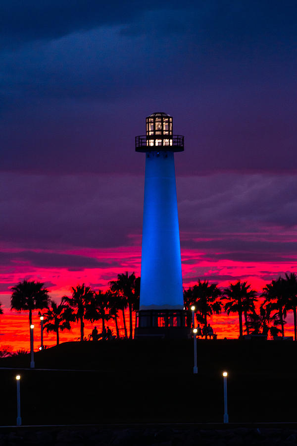 Light House In The Firey Sky Photograph