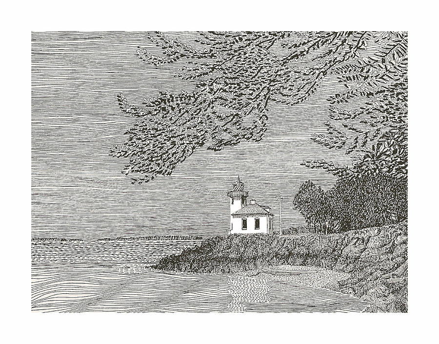 Light House On San Juan Island Lime Point Lighthouse Drawing  - Light House On San Juan Island Lime Point Lighthouse Fine Art Print