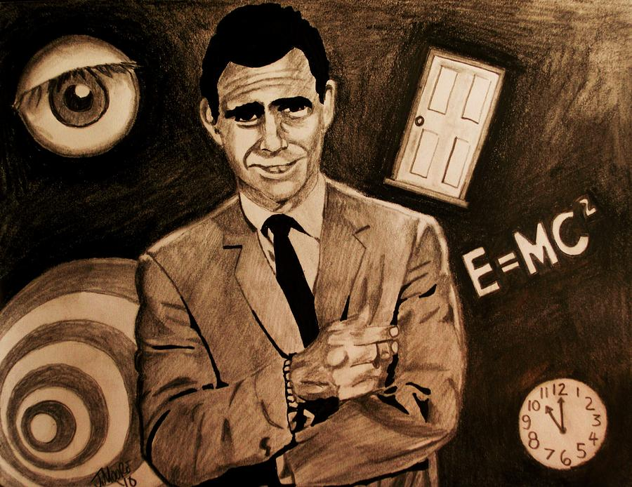 Twilight Zone Rod Serling Science Fiction Anthology Celebrity Smoking Drawing - Light Shadow Science And Superstition by Jeremy Moore