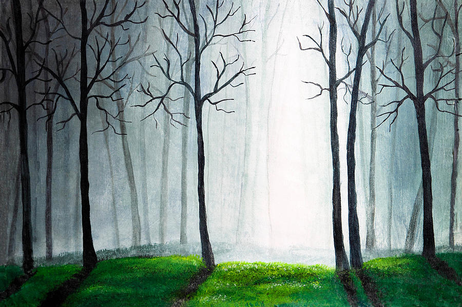 Light Through The Forest Painting