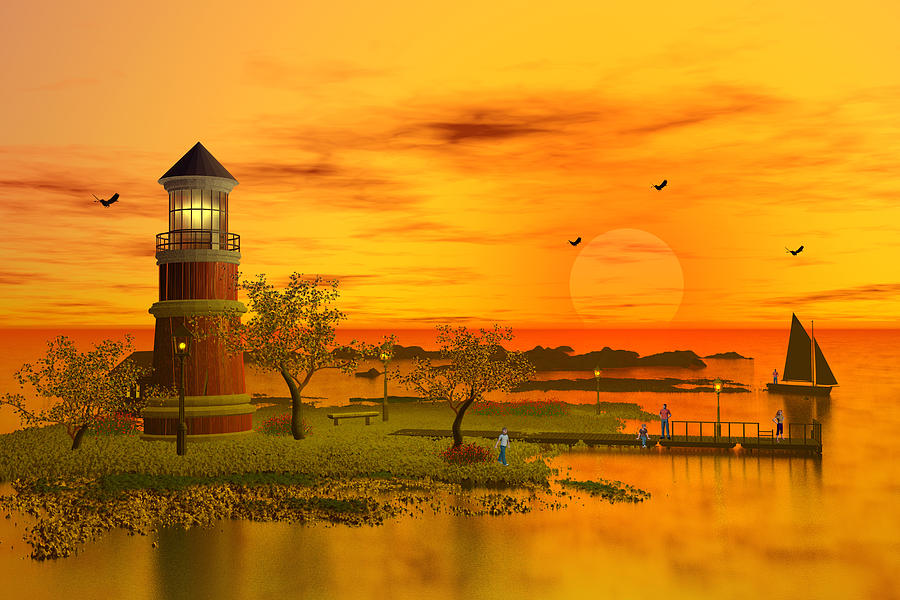Lighthouse At Sunset Digital Art