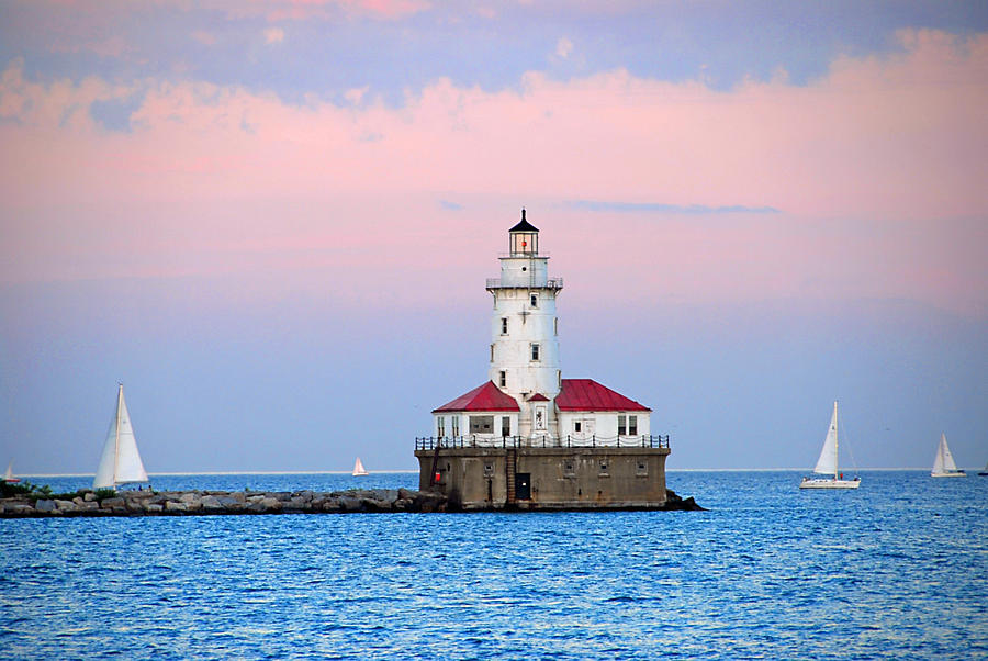 Lighthouse At The Navy Pier Photograph