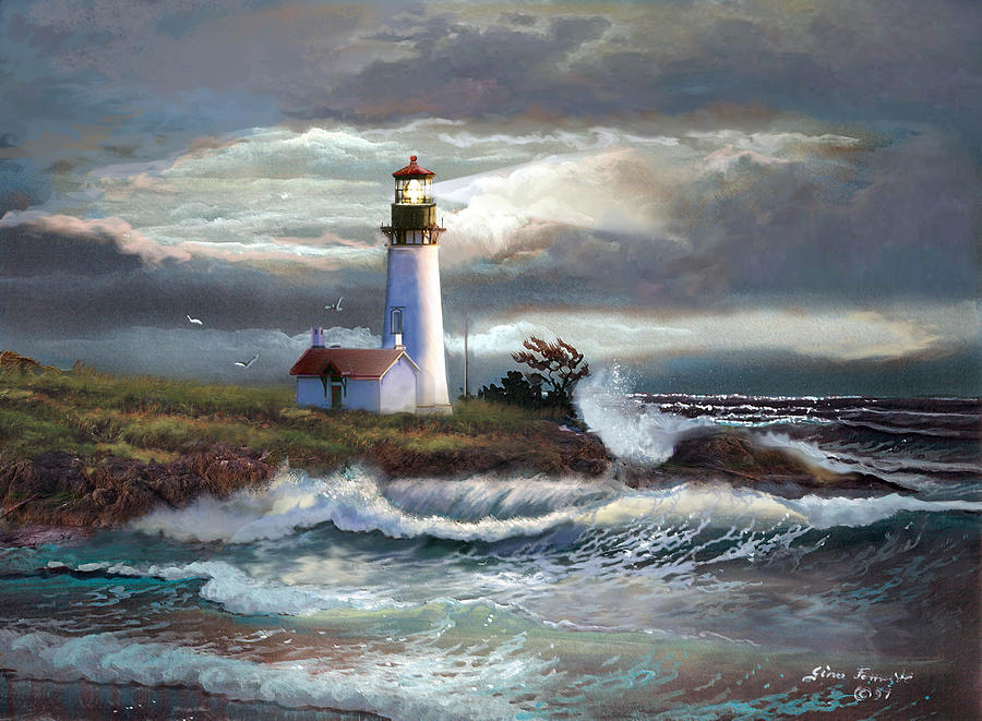 Lighthouse Beam Of Hope Painting  - Lighthouse Beam Of Hope Fine Art Print