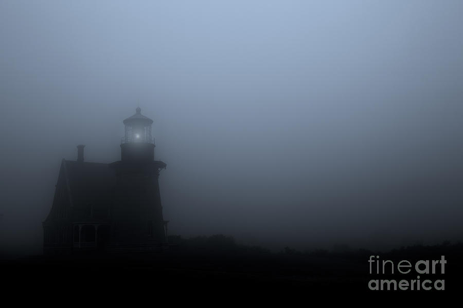 Lighthouse In Fog Photograph