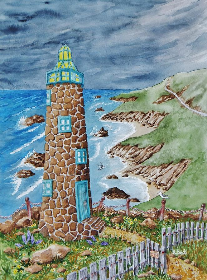 Print Painting - Lighthouse by Katherine Young-Beck
