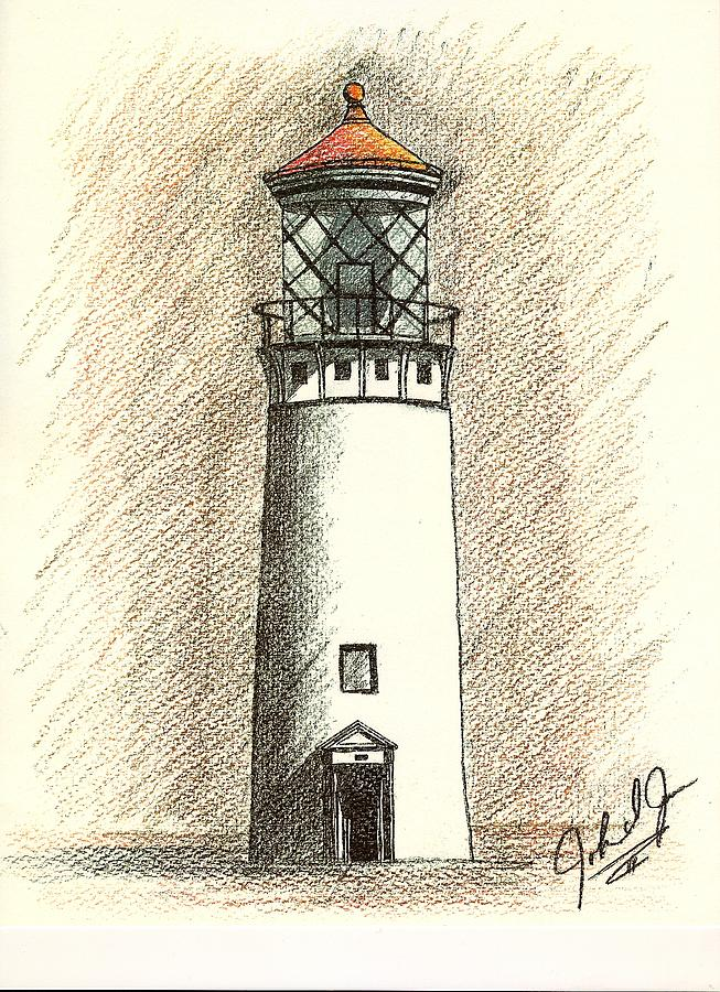 Lighthouse Of Hawaii -in Color Drawing  - Lighthouse Of Hawaii -in Color Fine Art Print