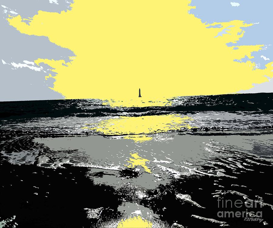 Lighthouse On The Horizon Painting