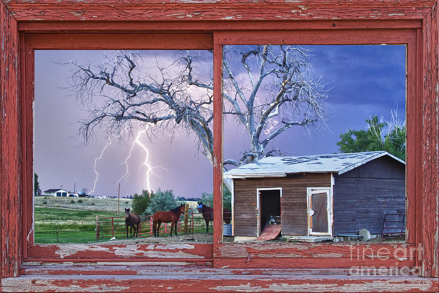 Lightning And Horses Lightning Strikes Red Picture Window Frame Photo Art Photograph  - Lightning And Horses Lightning Strikes Red Picture Window Frame Photo Art Fine Art Print