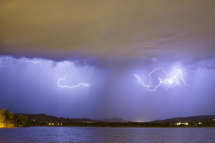 Lightning And Rain Over Rocky Mountain Foothills Photograph