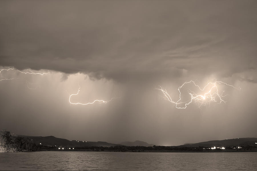Lightning And Sepia Rain Over Rocky Mountain Foothills Photograph