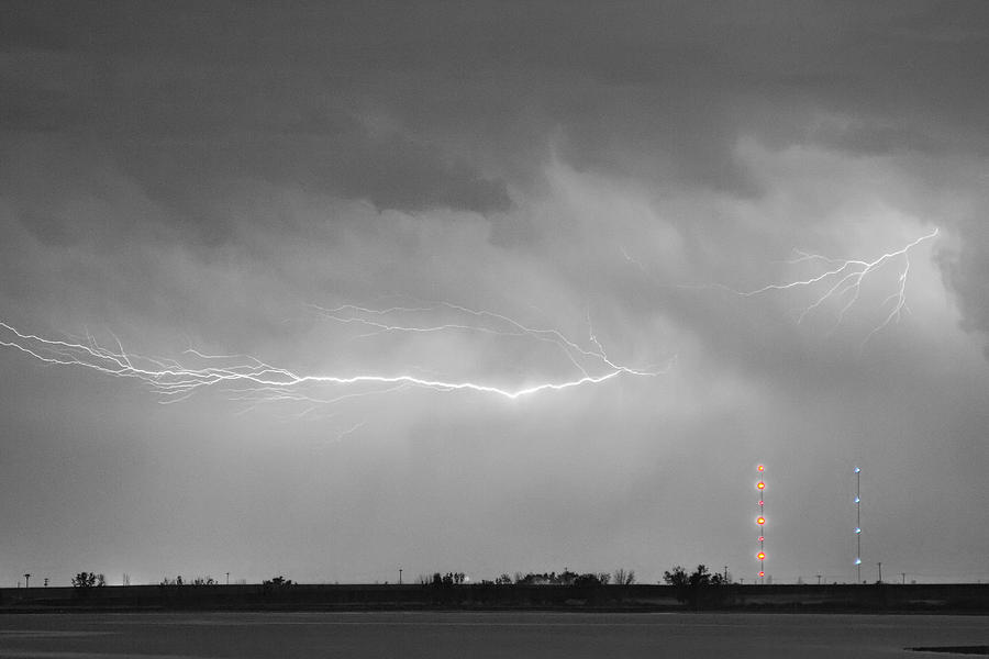 Lightning Bolting Across The Sky Bwsc Photograph  - Lightning Bolting Across The Sky Bwsc Fine Art Print