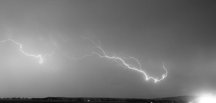 Lightning Bolts Coming In For A Landing Panorama Bw Photograph