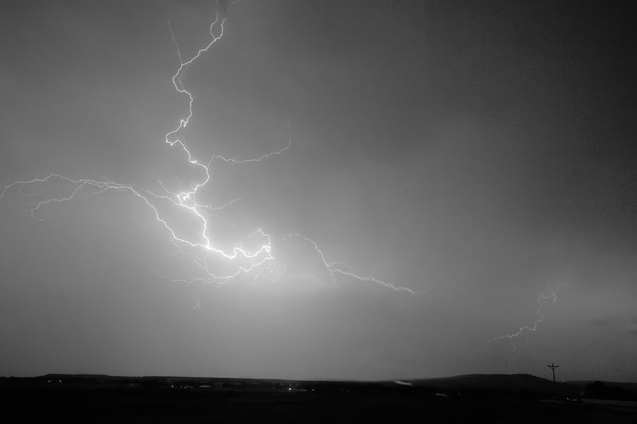 Lightning Goes Boom In The Middle Of The Night Bw Photograph