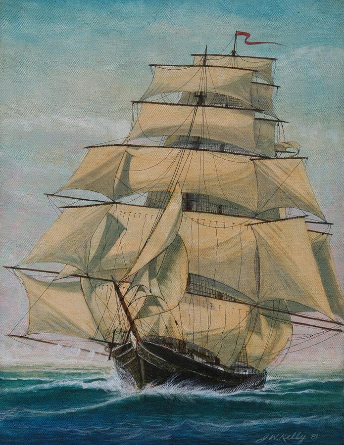 Seascape Of  Old Time Sailing Ship Painting - Lightning by J W Kelly