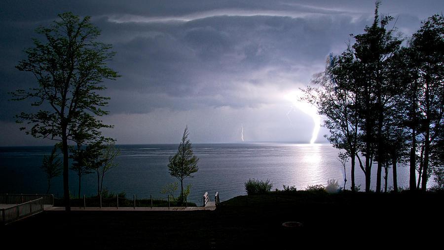 Lightning On Lake Michigan At Night Photograph