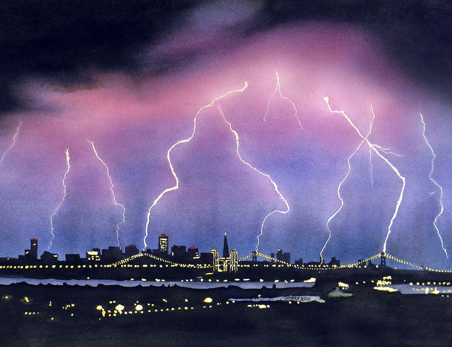 Lightning On The Bay Bridge Painting