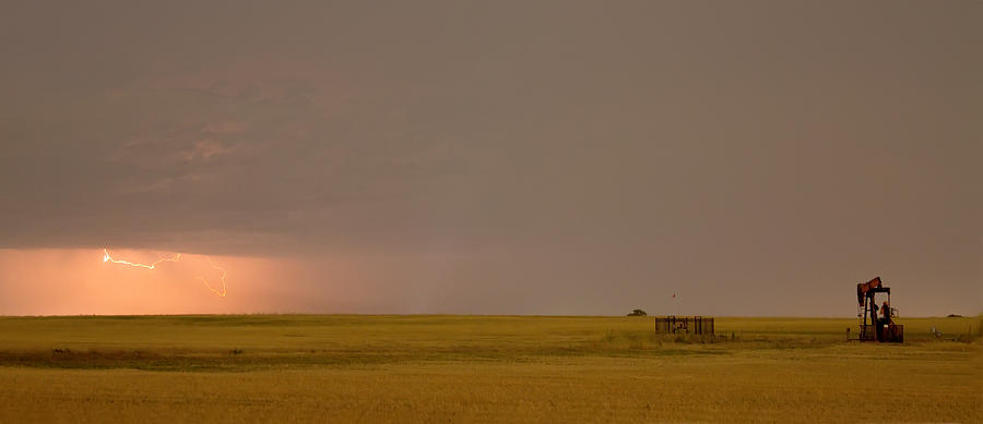 Lightning On The Horizon Of Oil Fields  Photograph