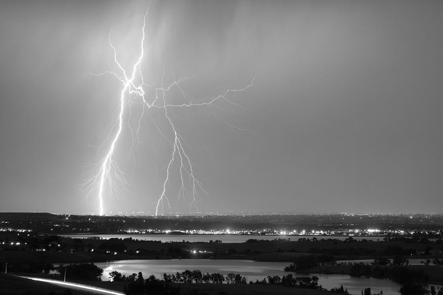Lightning Strike Boulder Reservoir And Coot Lake Bw Photograph