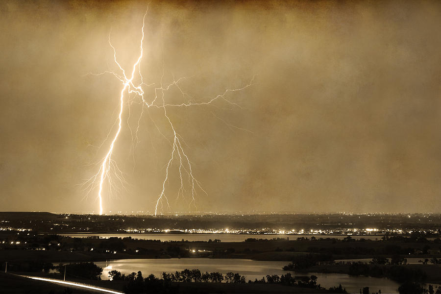 Lightning Strike Boulder Reservoir And Coot Lake Sepia 2 Photograph  - Lightning Strike Boulder Reservoir And Coot Lake Sepia 2 Fine Art Print