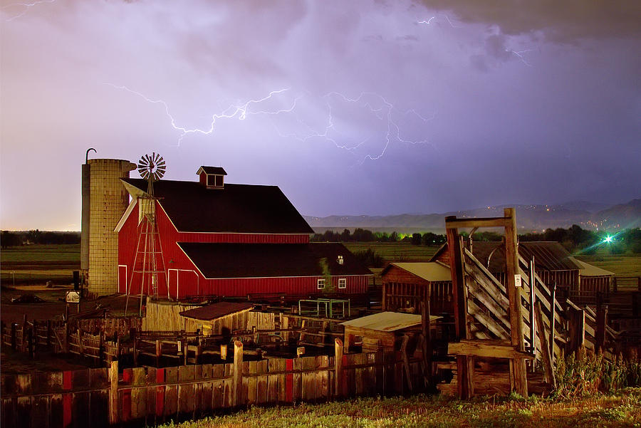 Lightning Strikes Over The Farm Photograph