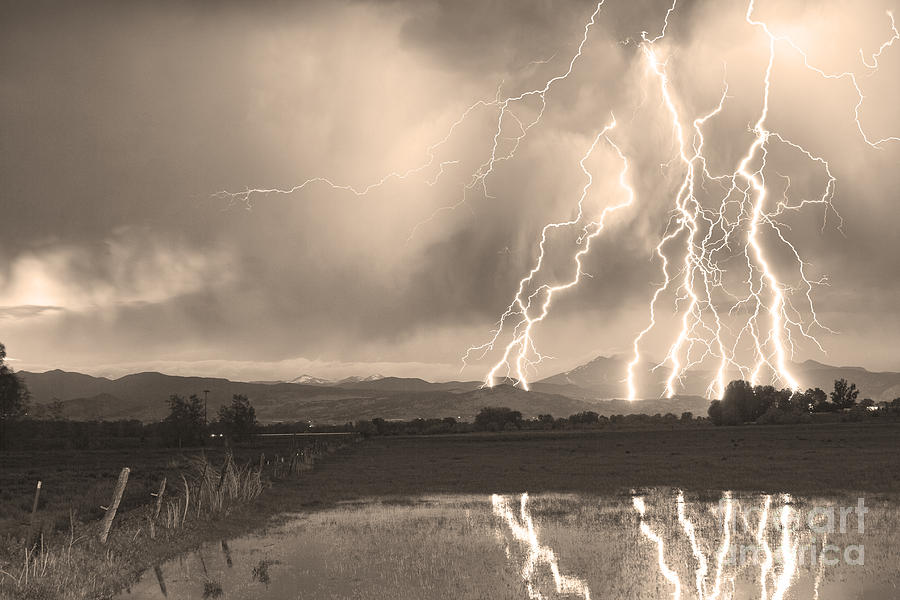 Lightning Striking Longs Peak Foothills Sepia 4 Photograph  - Lightning Striking Longs Peak Foothills Sepia 4 Fine Art Print