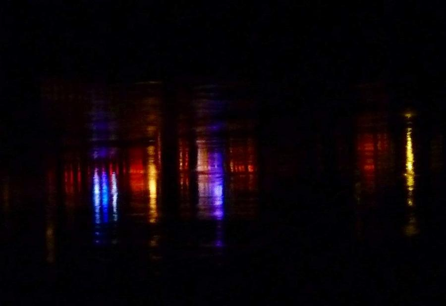 Lights Reflected On River Photograph - Lights On The River Reflection by Susan Garren