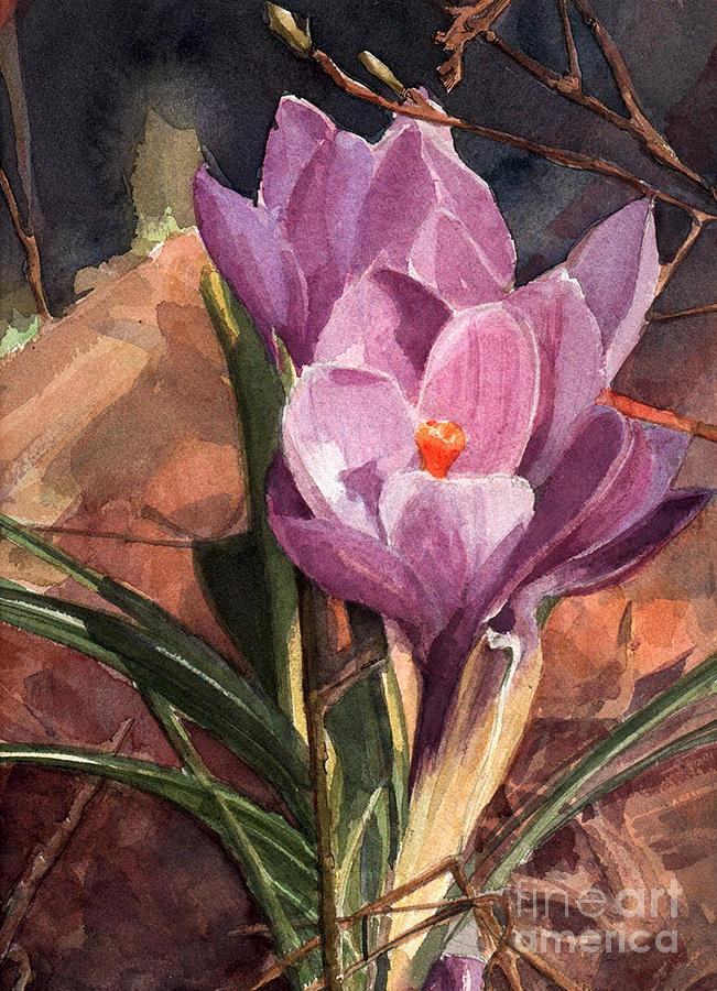 Lilac Crocuses Painting