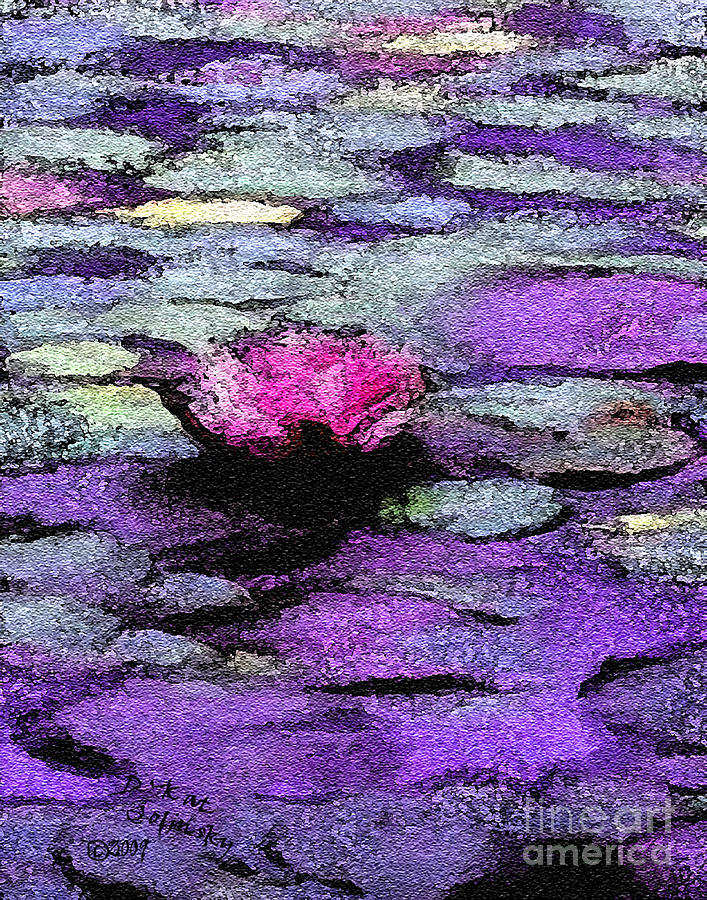 Lilac Lilly Pond Painting