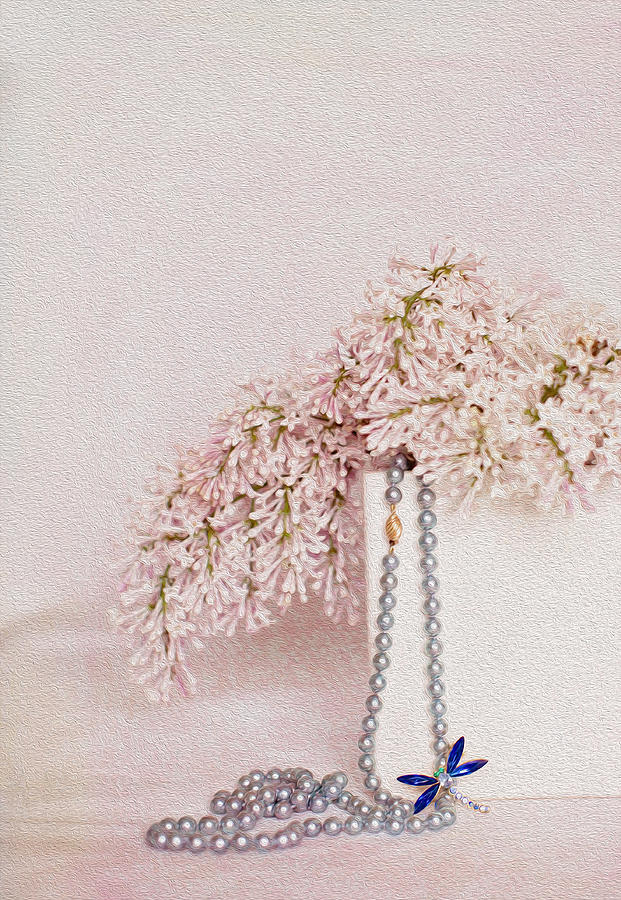 Lilacs Photograph - Lilacs Pearls And A Bit Of Sparkle by Rebecca Cozart