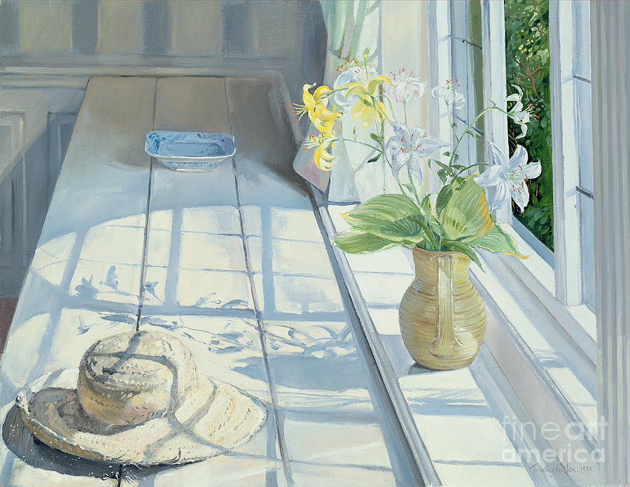 Lilies And A Straw Hat Painting