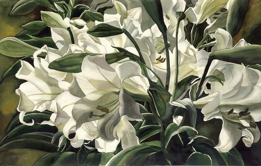 Lily  Painting - Lilies At Night by Alfred Ng